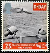 UNITED KINGDOM - CIRCA 1994: a stamp from Great Britain shows image of a coastal bombardment commemo