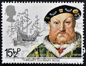 UNITED KINGDOM - CIRCA 1982: A stamp printed in Great Britain shows King Henry VIII and the Mary Ros
