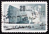 Selo postal Canadá 1952 símbolos do papel de produção de papel imprensa