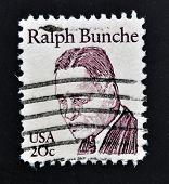 UNITED STATES OF AMERICA - CIRCA 1983: stamp printed in USA shows Ralph Bunche circa 1983