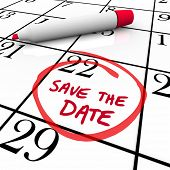 The words Save the Date written on a big white calendar to remind you to make and keep an important