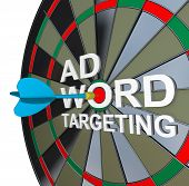 The words Ad Targeting with a dart in the middle of Word to symbolize online pay-per-click also know