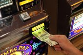 stock photo of poker machine  - hand putting money into slot machine in Las Vegas  - JPG
