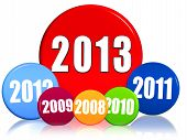 New Year 2013 And Previous Years In Colored Circles