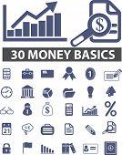 30 dinheiro, conjunto de ícones de Finanças, vetor