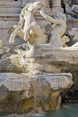 Rome, Italy. One Of The Most Famous Landmarks - Trevi Fountain, Horse Detail (fontana Di Trevi). poster