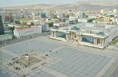 stock photo of ulaanbaatar  - Sukhbaatar square and the view on the outskirts of the city with yurts in Ulaanbaatar - JPG