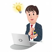 Businessman Getting A Good Idea With Light Bulb