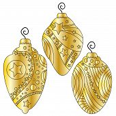 Golden bauble collection withe stars and circles