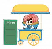 illustration of a cart stall and a cupcake on a white background
