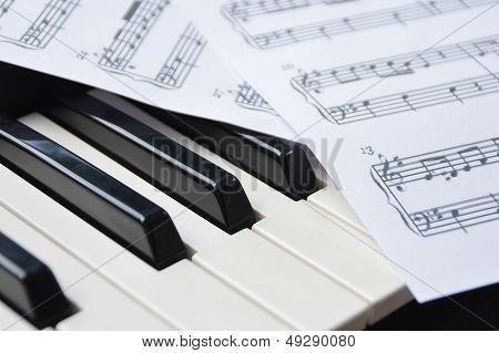 Piano Keyboard And Sheetmusic poster