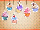 image of fancy cakes  - vector cute cupcake hanging stickers isolated on patterned background - JPG