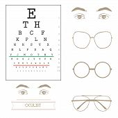 Eyesight test chart, eyeglasses