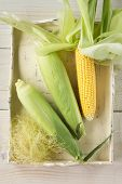 Fresh corn cobs on wooden tray
