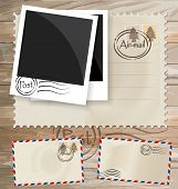 Vintage postcard designs, envelope and postage stamps. Vector EPS10