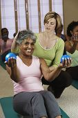 Senior women in exercise class