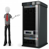 3D Man Businessman With Server Rack