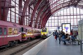 ANTWERP, BELGIUM - JUNE 23: Commuter train arrives to the Central station of Antwerp, Belgium on Jun