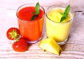 Strawberry, Pineapple Smoothie In Glass, Mint, Slice Pinapple