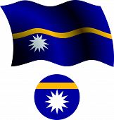 Nauru Wavy Flag And Icon