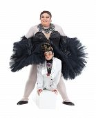 picture of drag-queen  - Two drag queens performing together in humorous caricature of women on white - JPG