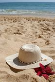 stock photo of sand lilies  - beach hat and flower in the sand - JPG