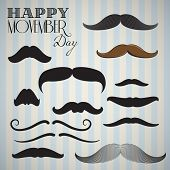 Retro / Vintage mustache set (Hand drawn) for happy movember day