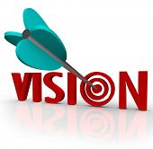 The word Vision with an arrow in a bulls-eye target to illustrate a unique perspective or focus on s