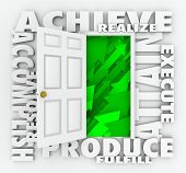 A door surrounded by words illustrating success such as Achieve, accomplish, produce, resolve, attai