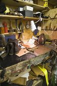 View of tools at a traditional shoemaker workshop
