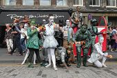 EDINBURGH- AUGUST 10: Members of Babolin Theatre publicize their show Sentinels during Edinburgh Fringe Festival on August 10, 2013 in Edinburgh, Scotland