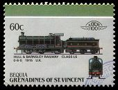 BEQUIA - CIRCA 1985: A stamp printed in Grenadines of St. Vincent shows Hull and Barnsley Railway cl
