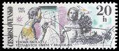 CZECHOSLOVAKIA - CIRCA 1979: A stamp printed in the Czechoslovakia, dedicated to 30th anniversary of the Fine Arts Academy, Bratislava, shows the Artist and Model, Dove, Bratislava Castle, circa 1979