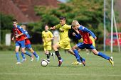 KAPOSVAR, HUNGARY - JULY 20: Unidentified players in action at the IX. Youth Football Festival match