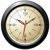 Vintage Military Aviation Dash Board Clock Isolated Illustration