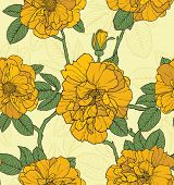 Floral seamless pattern with yellow roses