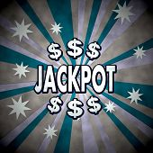 3D Render Of A Lucky Jackpot Sign  On Retro Star Background