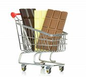 A shopping cart with bars of chocolate