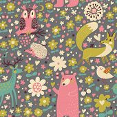 Forest animals �¢�?�? funny cartoon seamless pattern with Deer, Bear, Fox, Hedgehog and owl in v