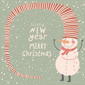 Merry Christmas and a Happy New Year cartoon card in vector. Childish background with funny snowman