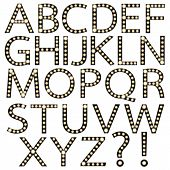 Set of Black Broadway Light Bulb Alphabet A-Z
