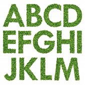 Set of Green Grass Alphabet A-M