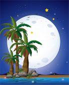 Ilustración de una luna brillante y el mar azul