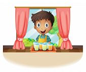 Illustration of a boy holding a tray of juice on a white background