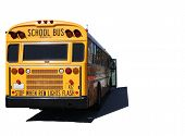 Isolated School Bus Outdoors On A Sunny Day
