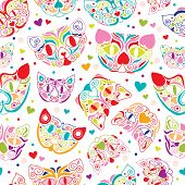 image of shiting  - Seamless i love cats cute colorful kitten illustration background pattern in vector - JPG