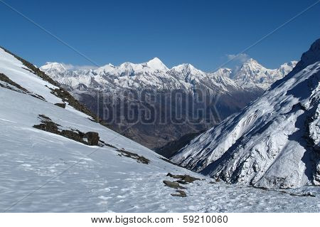 poster of View of Pisang Peak and other snow capped mountains near Manang