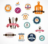 Collection of vintage bakery and cooffee shops badges and labels