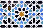 closeup of a ceramic tile in Reales Alcazares, Seville, Andalucia, Spain