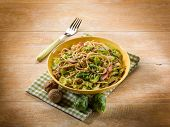 pasta with ham brussel sprout and nuts